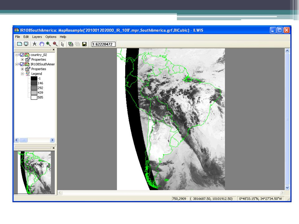 MapWindow - Resampled IR108 image