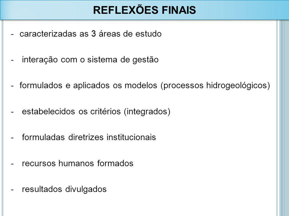 REFLEXÕES FINAIS caracterizadas as 3 áreas de estudo