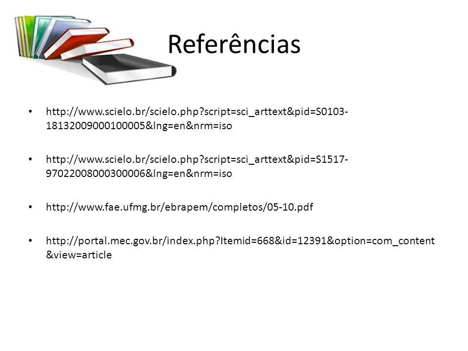 Referências http://www.scielo.br/scielo.php script=sci_arttext&pid=S0103-18132009000100005&lng=en&nrm=iso.