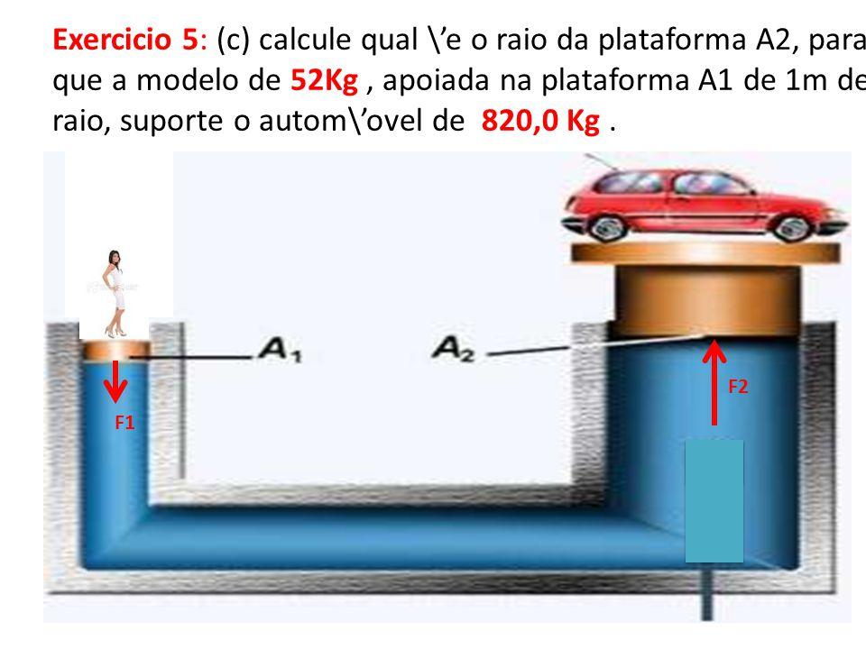Exercicio 5: (c) calcule qual \'e o raio da plataforma A2, para que a modelo de 52Kg , apoiada na plataforma A1 de 1m de raio, suporte o autom\'ovel de 820,0 Kg .