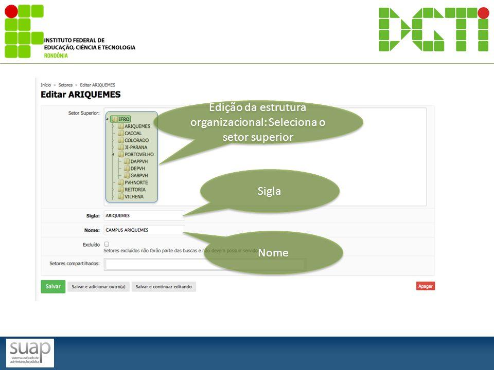 Edição da estrutura organizacional: Seleciona o setor superior