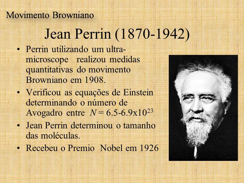 Jean Perrin (1870-1942) Perrin utilizando um ultra- microscope realizou medidas quantitativas do movimento Browniano em 1908.
