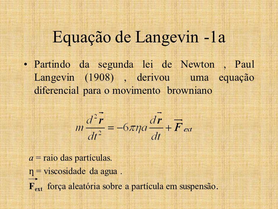Equação de Langevin -1a Partindo da segunda lei de Newton , Paul Langevin (1908) , derivou uma equação diferencial para o movimento browniano.