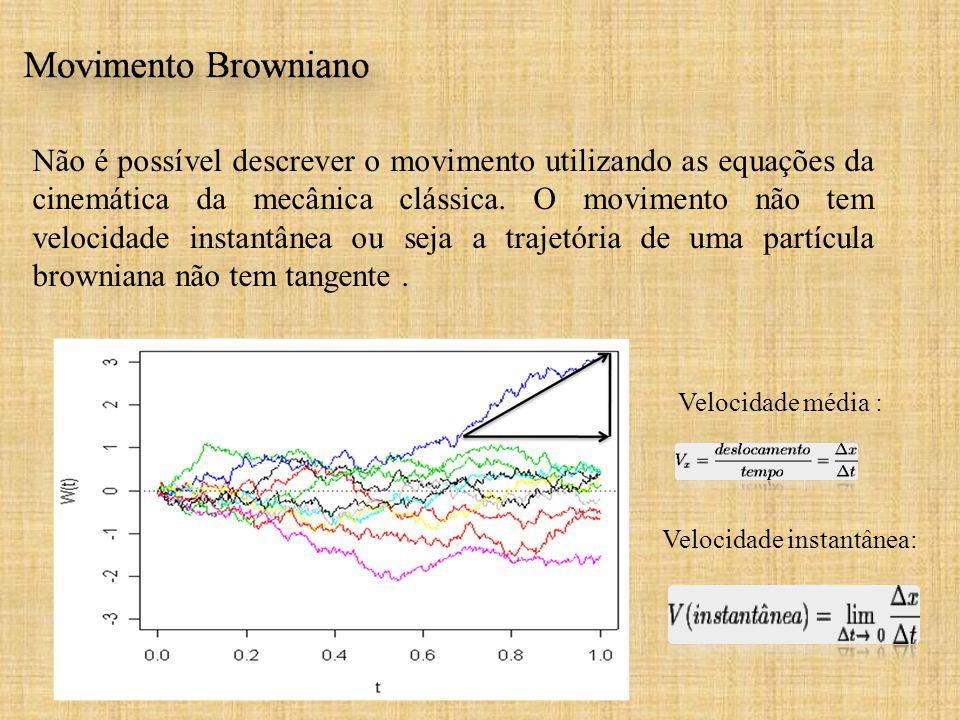 Não é possível descrever o movimento utilizando as equações da cinemática da mecânica clássica. O movimento não tem velocidade instantânea ou seja a trajetória de uma partícula browniana não tem tangente .