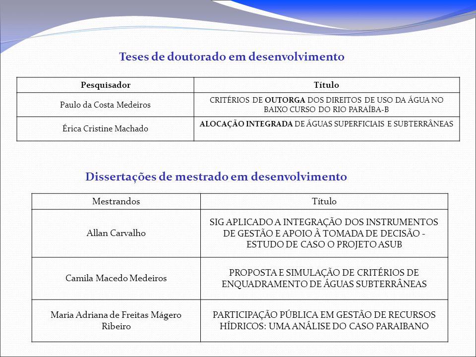 Teses de doutorado em desenvolvimento