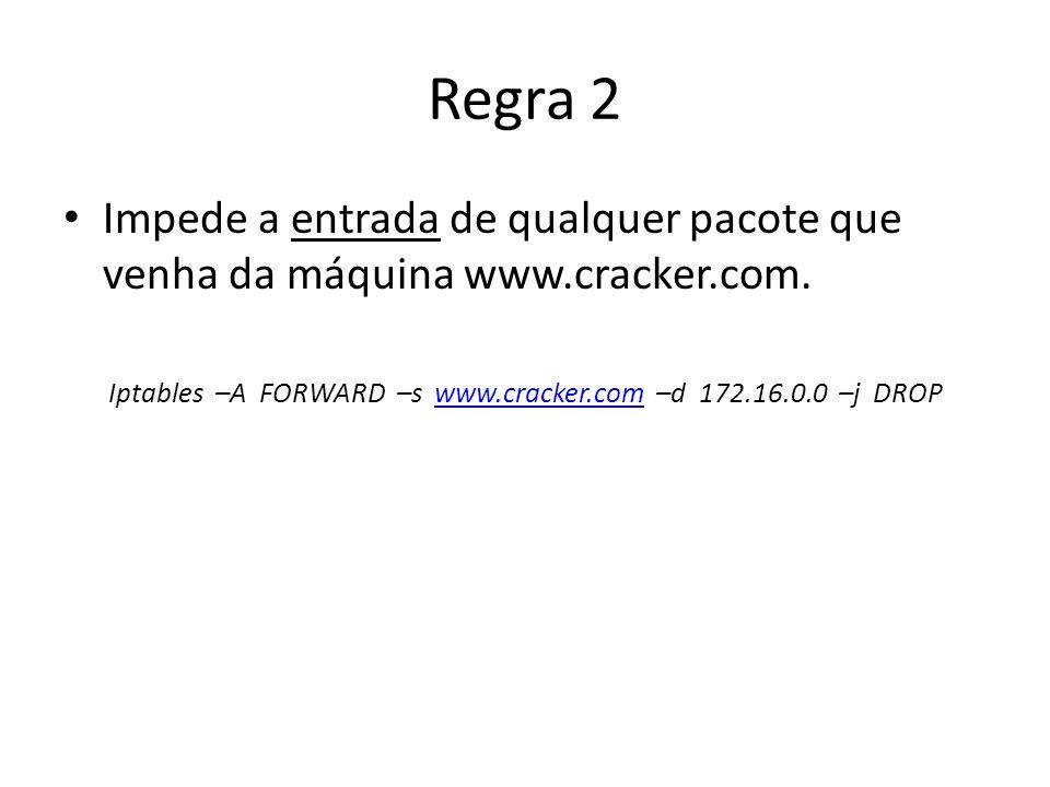 Iptables –A FORWARD –s www.cracker.com –d 172.16.0.0 –j DROP