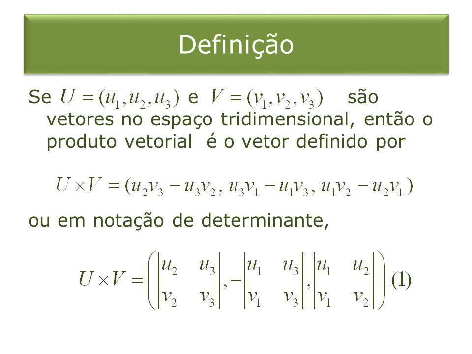 Definição Se e são vetores no espaço tridimensional, então o produto vetorial é o vetor definido por ou em notação de determinante,