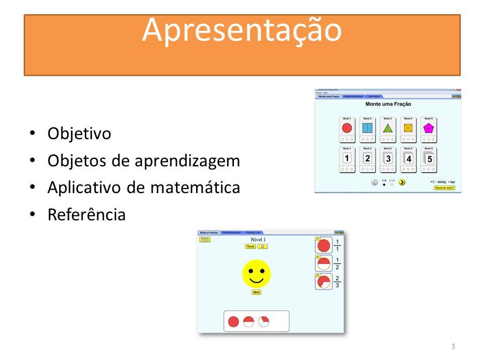 Apresentação Objetivo Objetos de aprendizagem Aplicativo de matemática