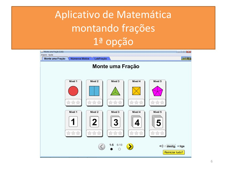 Aplicativo de Matemática montando frações 1ª opção