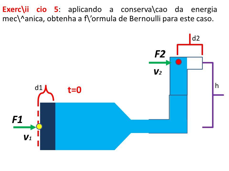 Exerc\ii cio 5: aplicando a conserva\cao da energia mec\^anica, obtenha a f\'ormula de Bernoulli para este caso.