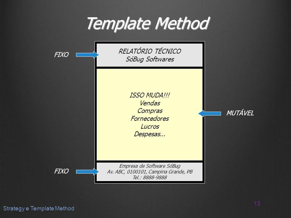 Template Method RELATÓRIO TÉCNICO FIXO SóBug Softwares