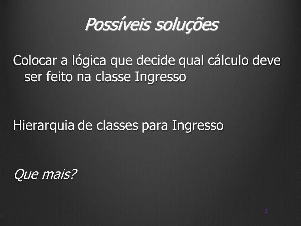Possíveis soluções Colocar a lógica que decide qual cálculo deve ser feito na classe Ingresso Hierarquia de classes para Ingresso Que mais.