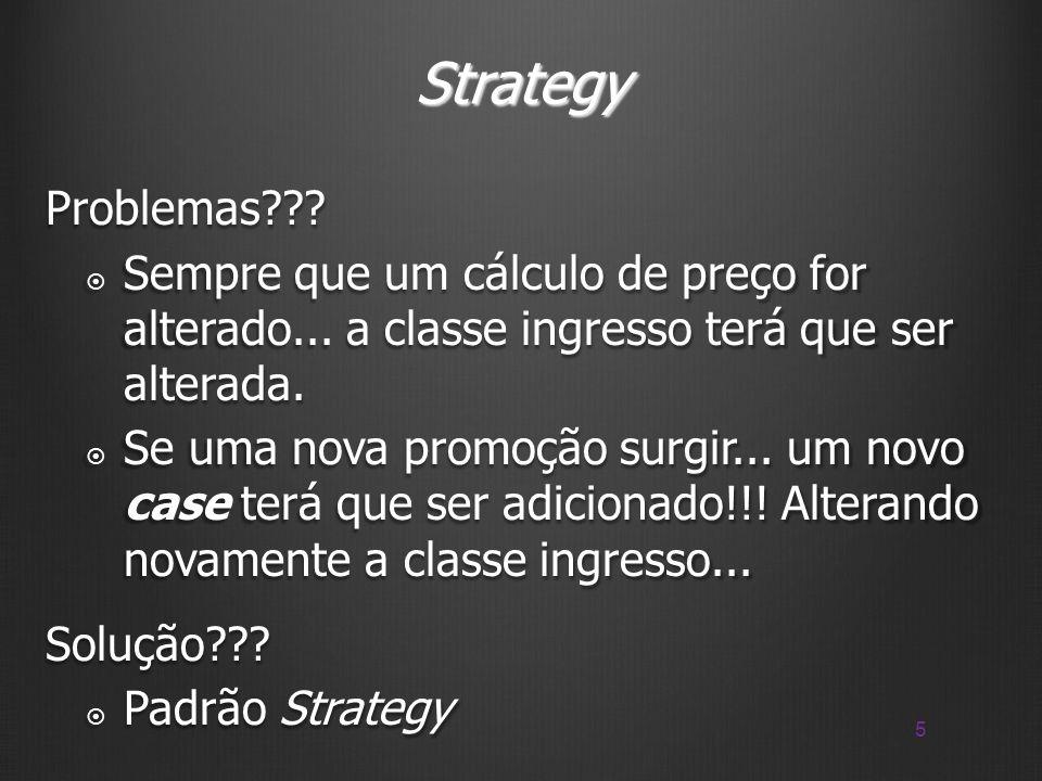Strategy Problemas Sempre que um cálculo de preço for alterado... a classe ingresso terá que ser alterada.