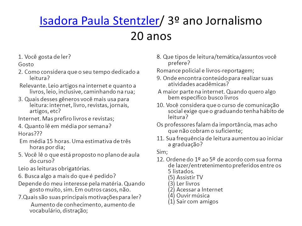 Isadora Paula Stentzler/ 3º ano Jornalismo 20 anos