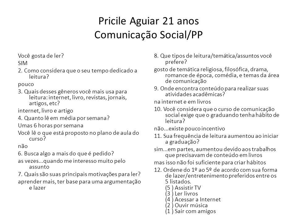 Pricile Aguiar 21 anos Comunicação Social/PP