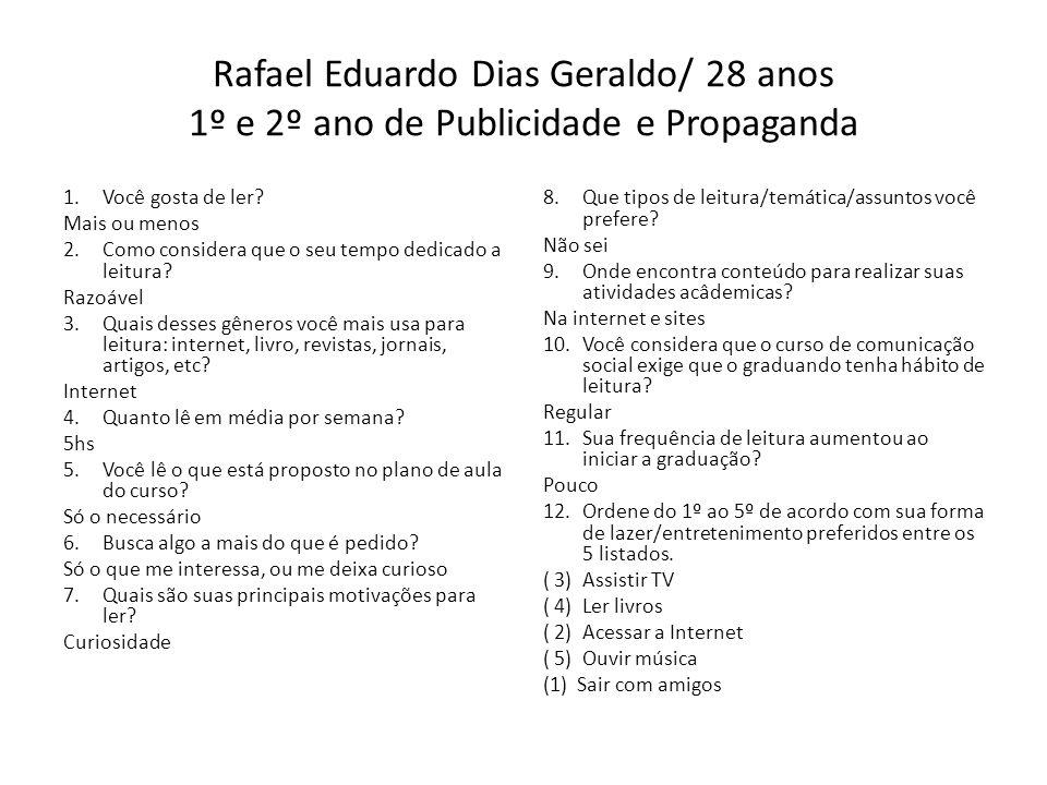 Rafael Eduardo Dias Geraldo/ 28 anos 1º e 2º ano de Publicidade e Propaganda