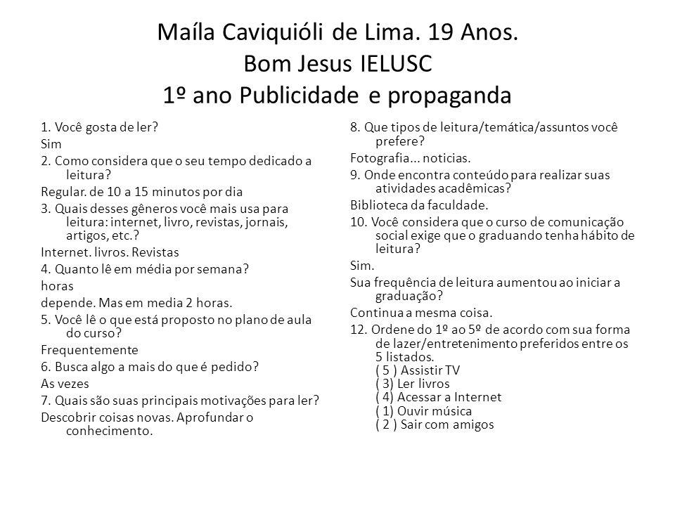 Maíla Caviquióli de Lima. 19 Anos