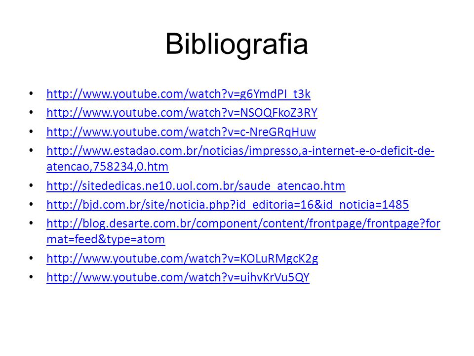 Bibliografia http://www.youtube.com/watch v=g6YmdPI_t3k