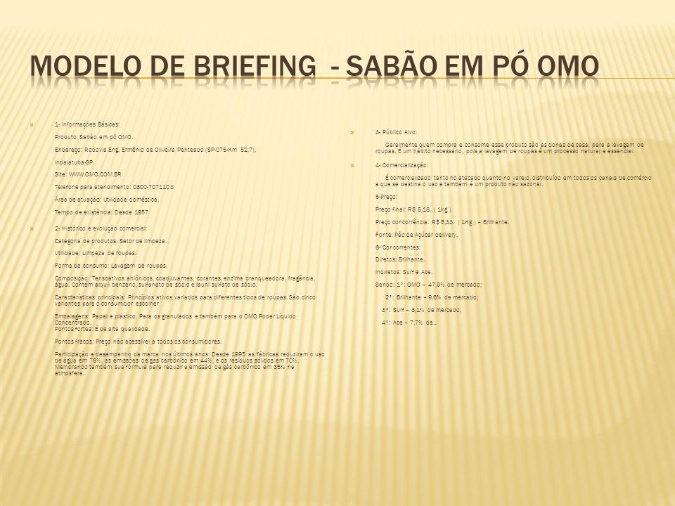 Modelo de briefing - sabão em pó omo