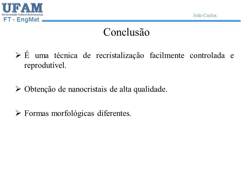 UFAM Universidade Federal do Amazonas. FT - EngMat. João Carlos. Conclusão.