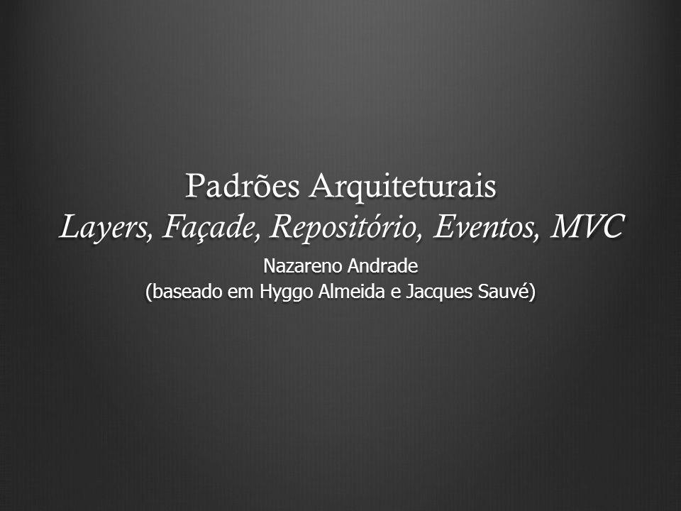 Padrões Arquiteturais Layers, Façade, Repositório, Eventos, MVC