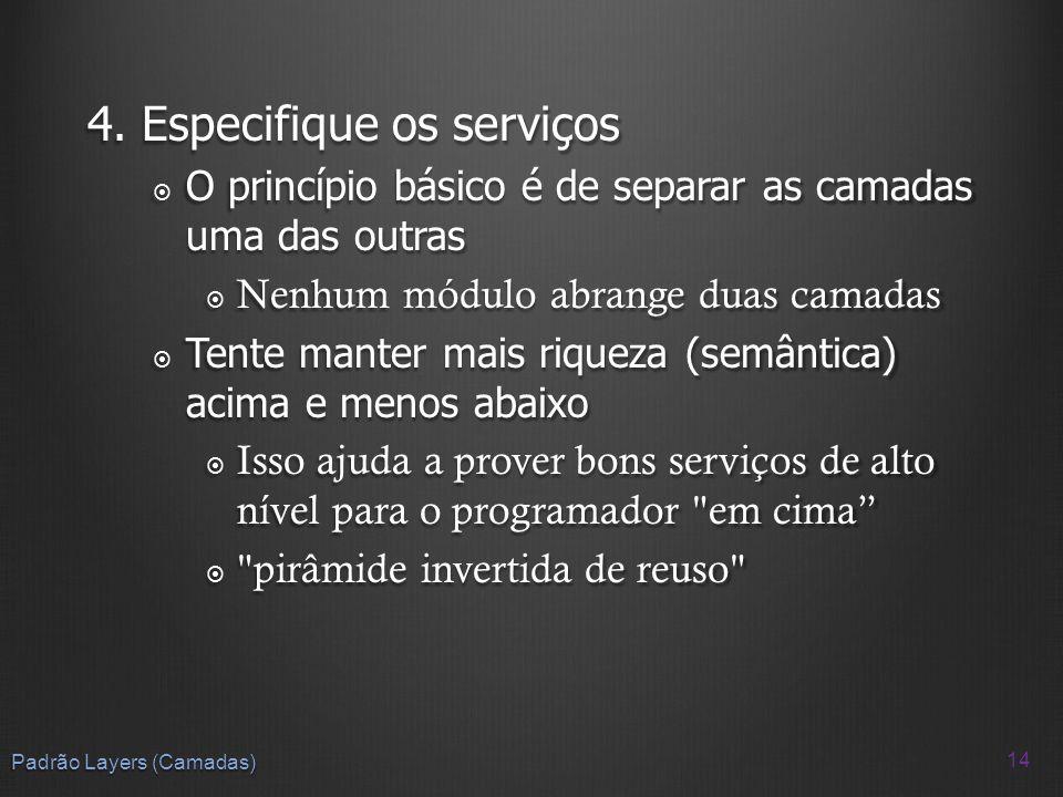 4. Especifique os serviços