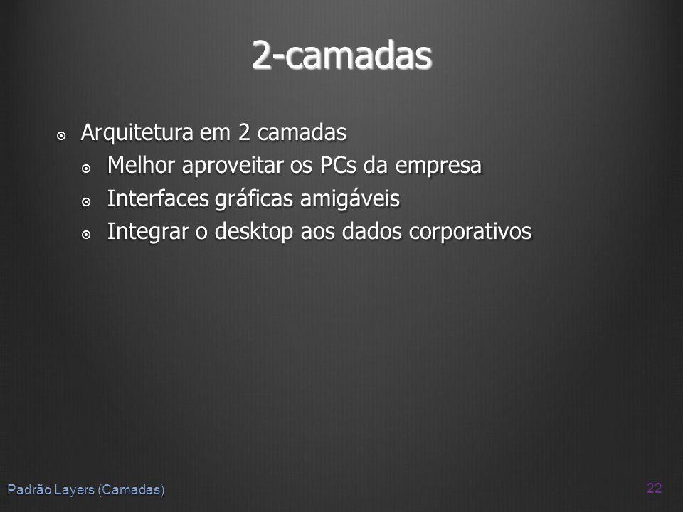 2-camadas Arquitetura em 2 camadas Melhor aproveitar os PCs da empresa