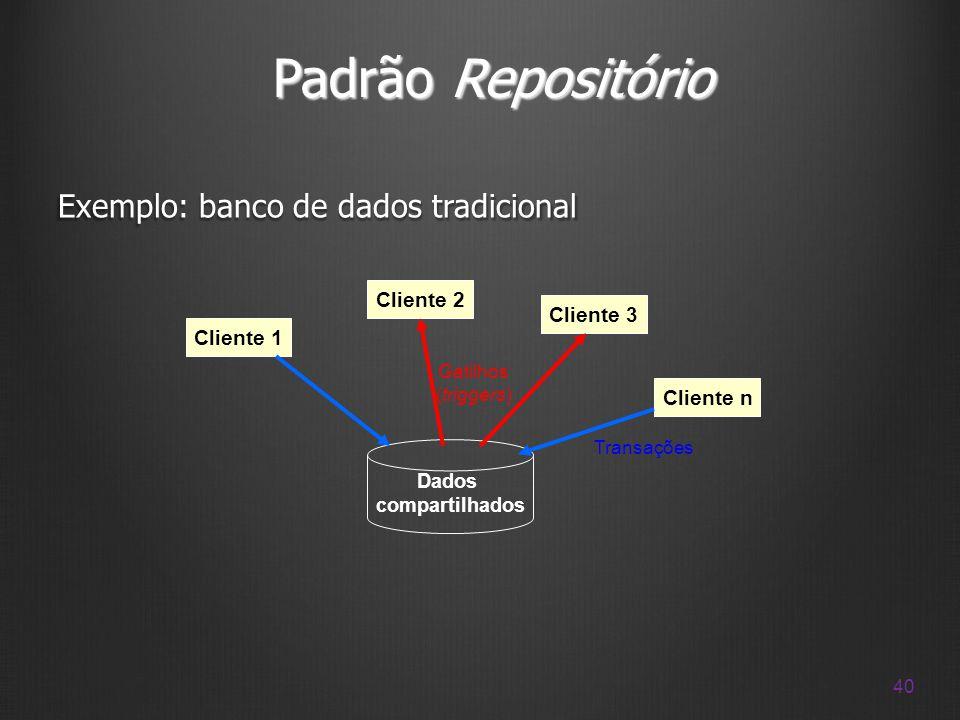 Padrão Repositório Exemplo: banco de dados tradicional Cliente 2