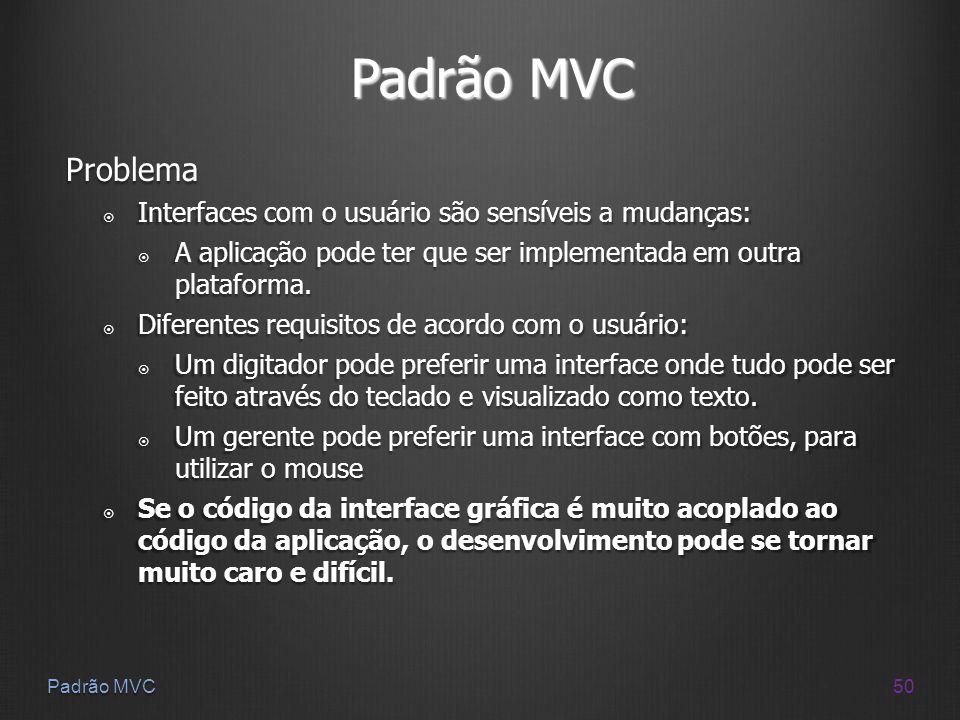 Padrão MVC Problema Interfaces com o usuário são sensíveis a mudanças: