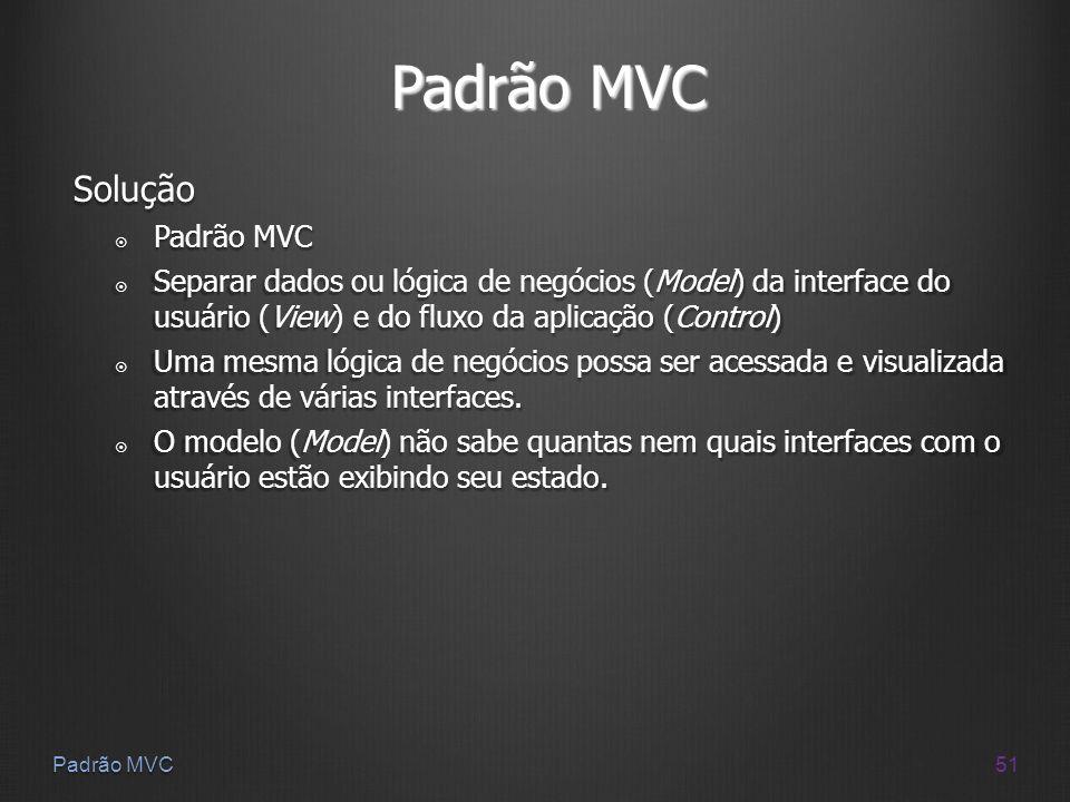 Padrão MVC Solução Padrão MVC