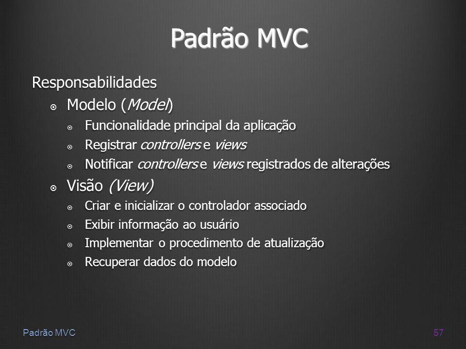 Padrão MVC Responsabilidades Modelo (Model) Visão (View)