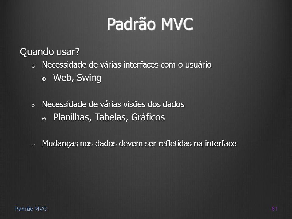 Padrão MVC Quando usar Web, Swing Planilhas, Tabelas, Gráficos