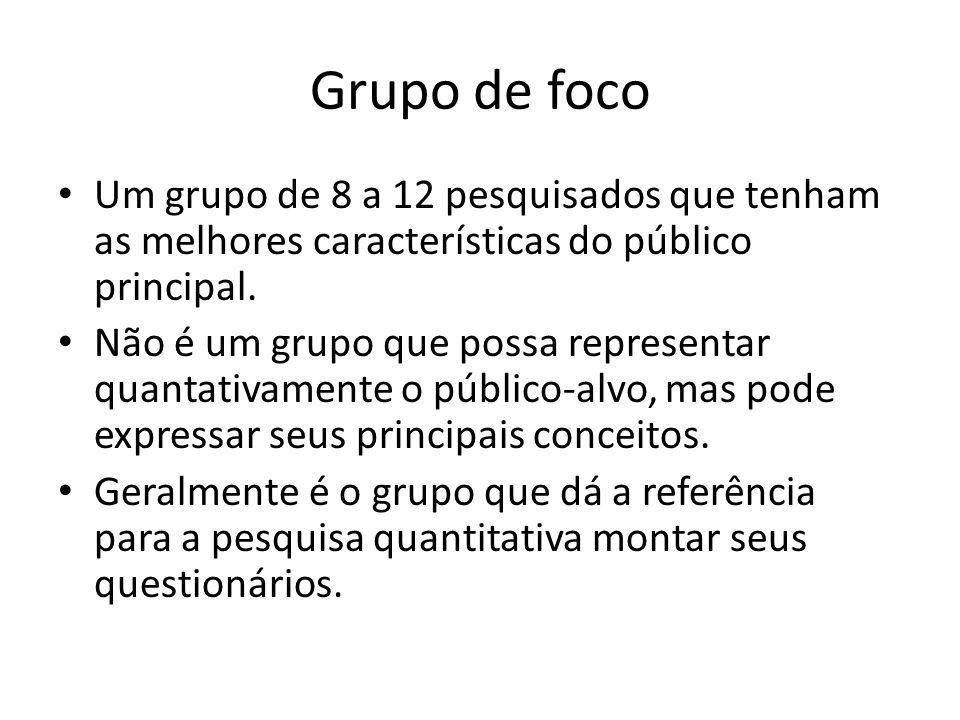 Grupo de foco Um grupo de 8 a 12 pesquisados que tenham as melhores características do público principal.