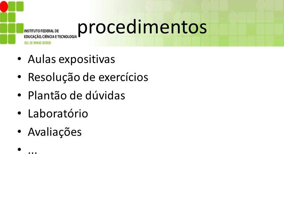 procedimentos Aulas expositivas Resolução de exercícios
