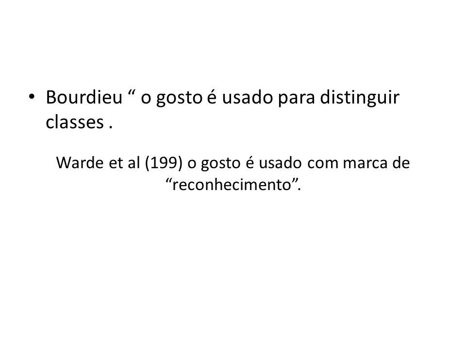 Warde et al (199) o gosto é usado com marca de reconhecimento .