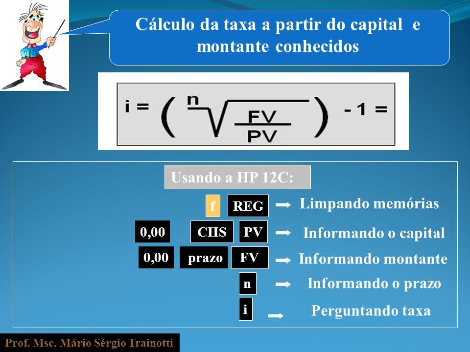 Cálculo da taxa a partir do capital e montante conhecidos