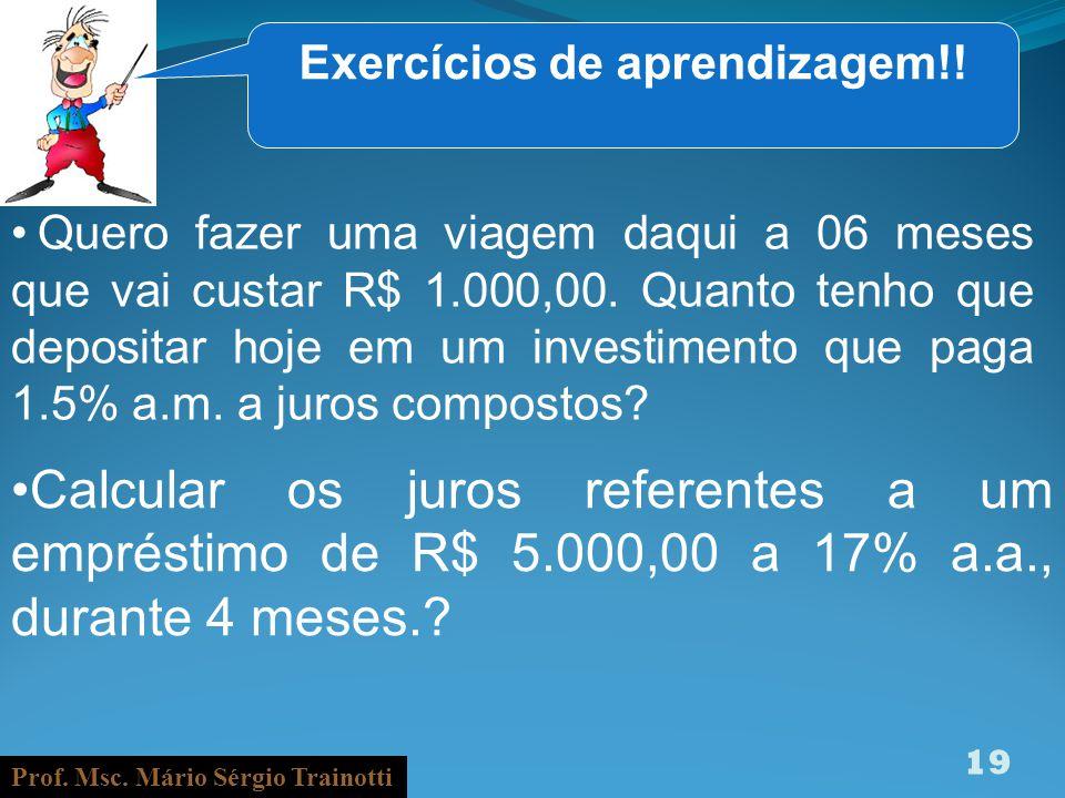 Exercícios de aprendizagem!!