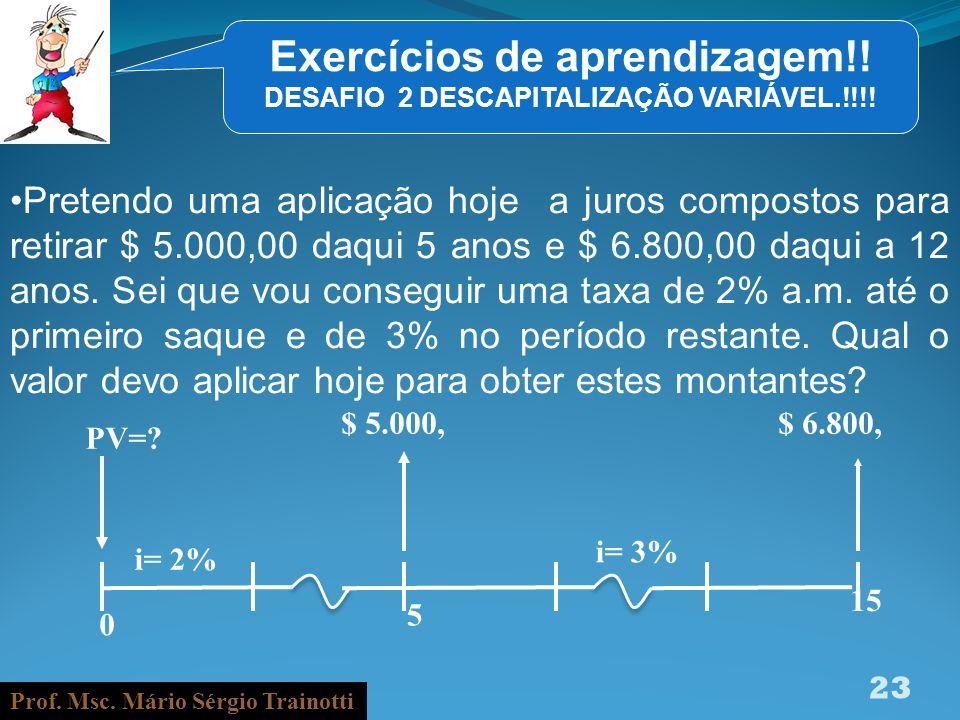 Exercícios de aprendizagem!! DESAFIO 2 DESCAPITALIZAÇÃO VARIÁVEL.!!!!
