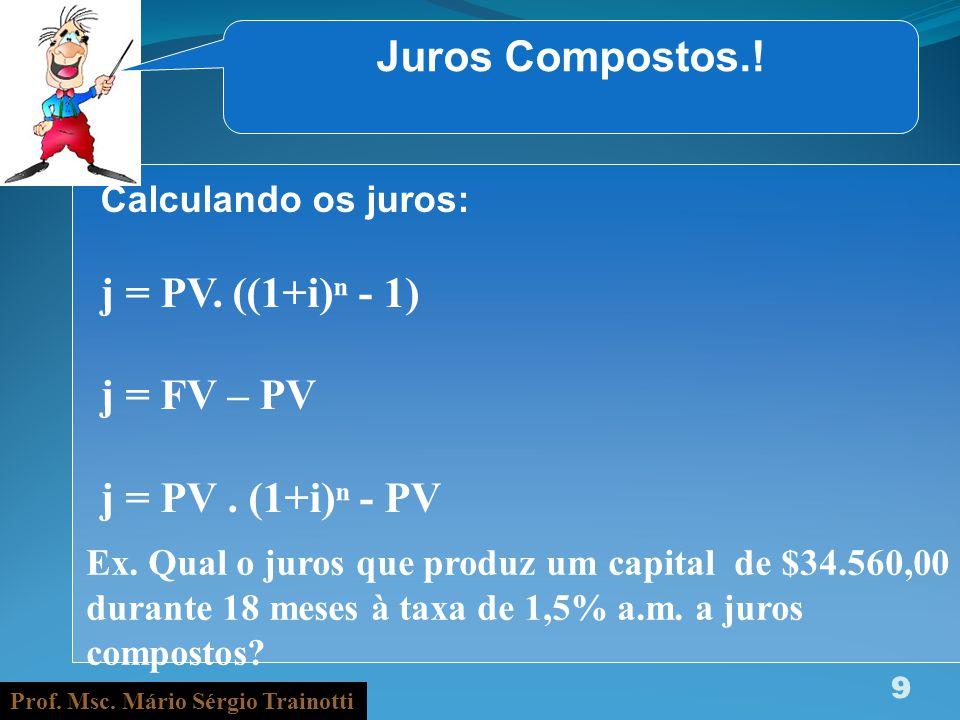 Juros Compostos.! j = PV. ((1+i)ⁿ - 1) j = FV – PV