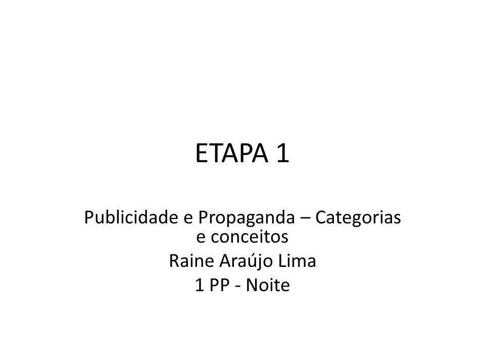Publicidade e Propaganda – Categorias e conceitos