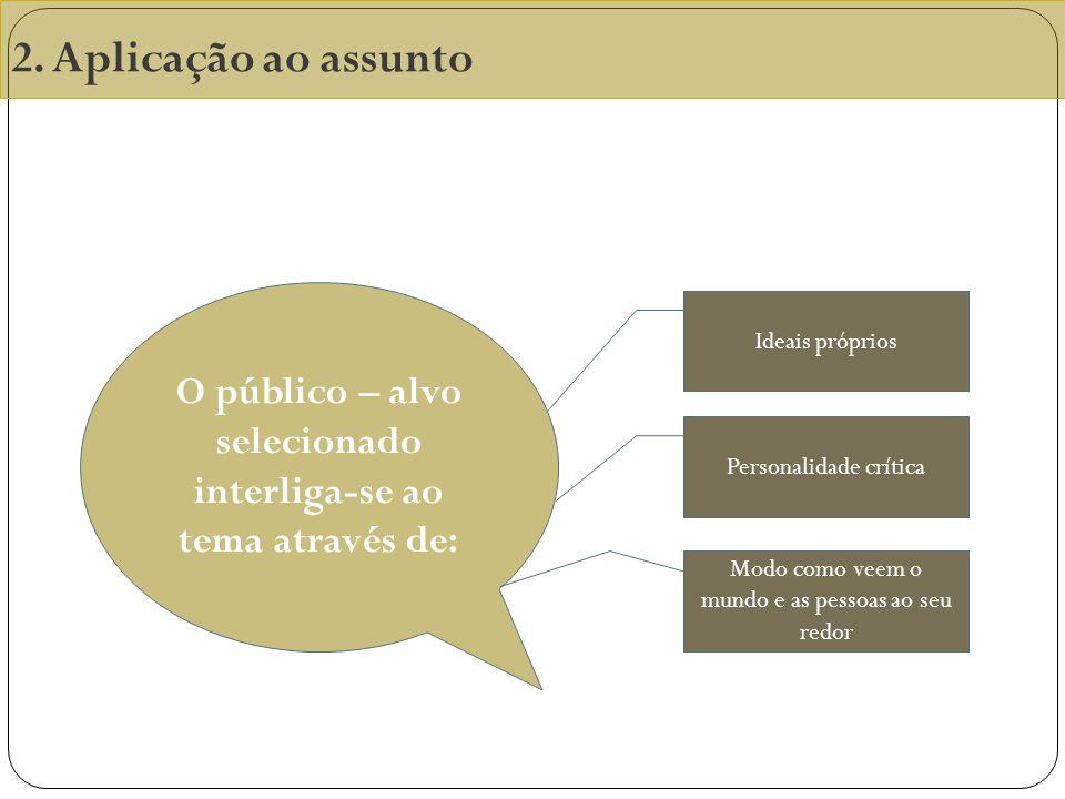 O público – alvo selecionado interliga-se ao tema através de: