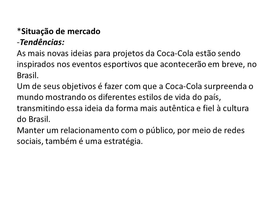*Situação de mercado -Tendências: As mais novas ideias para projetos da Coca-Cola estão sendo inspirados nos eventos esportivos que acontecerão em breve, no Brasil.