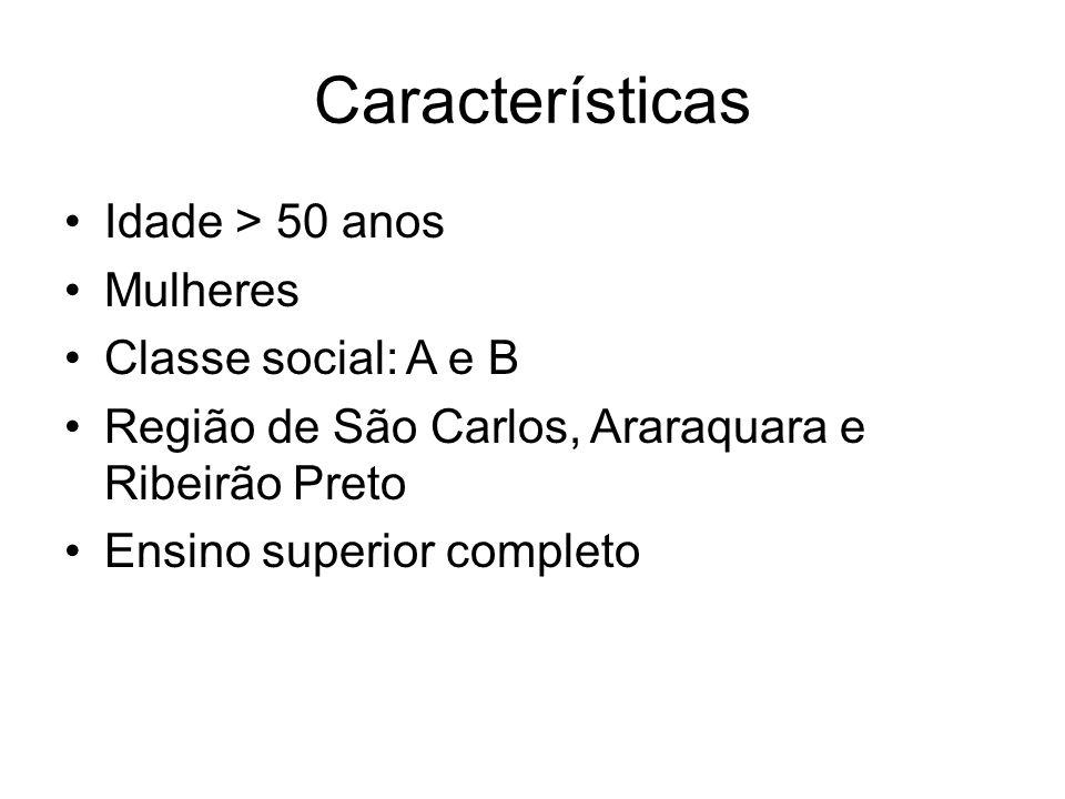 Características Idade > 50 anos Mulheres Classe social: A e B