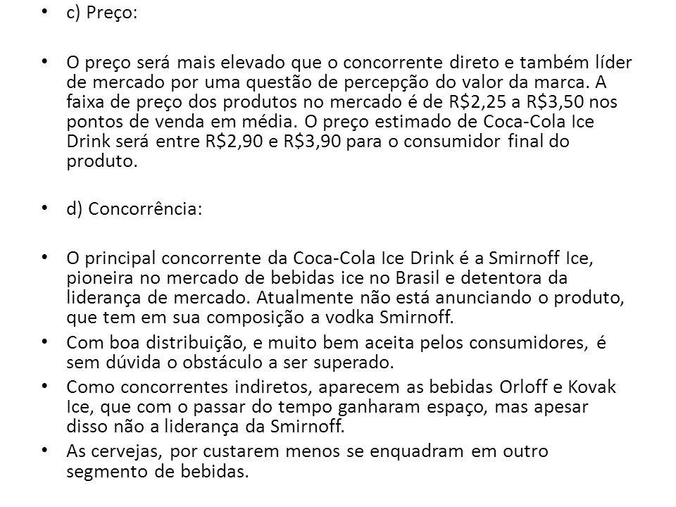 c) Preço: