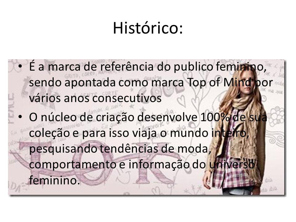 Histórico: É a marca de referência do publico feminino, sendo apontada como marca Top of Mind por vários anos consecutivos.