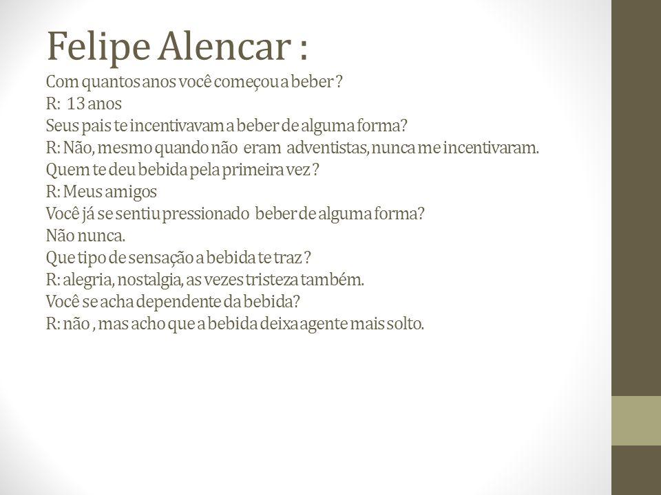 Felipe Alencar : Com quantos anos você começou a beber
