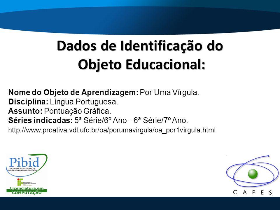 Dados de Identificação do Objeto Educacional: