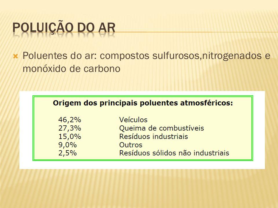 Poluição do ar Poluentes do ar: compostos sulfurosos,nitrogenados e monóxido de carbono