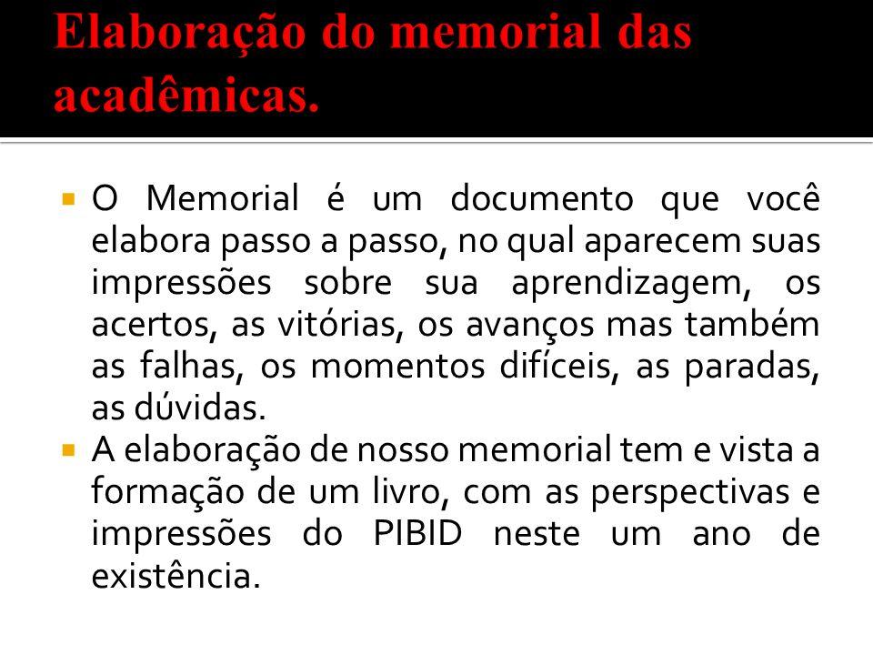 Elaboração do memorial das acadêmicas.