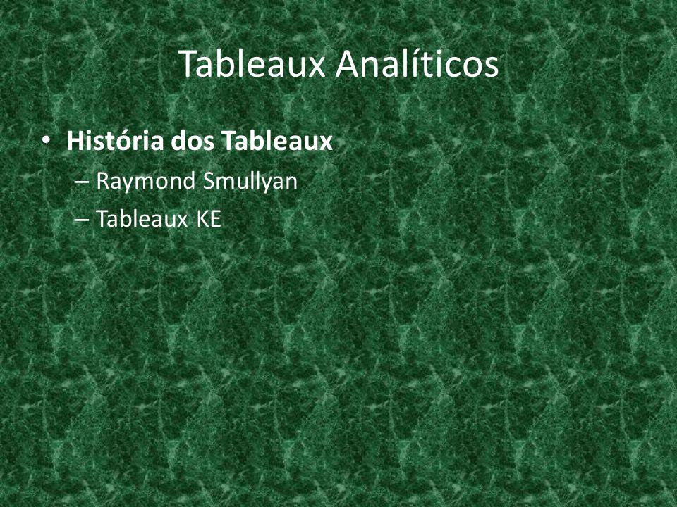 Tableaux Analíticos História dos Tableaux Raymond Smullyan Tableaux KE